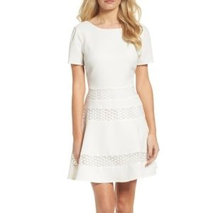 Chelsea28 Mixed Media Fit & Flare Dress